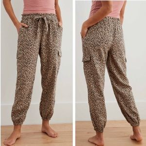 Arie-Leopard Print High Rise Cargo Joggers (Med)